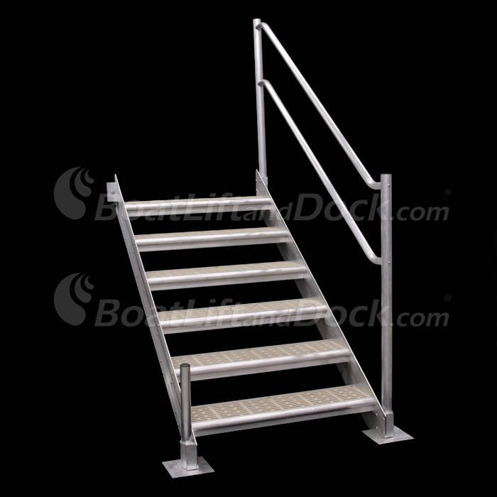 6 Step Aluminum Dock Stair with Handrail